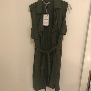 Zara Army Green Trench Vest